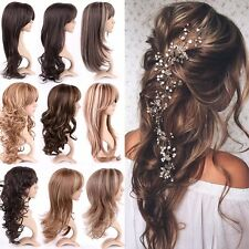 Fashion Women Long Cosplay Party Synthetic Hair Wig Mix Blonde Brown Full Wigs #