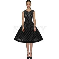 Vintage Rockabilly Mesh 50s 60s  Polka Dot Party Prom Gown Flared Swing Dress