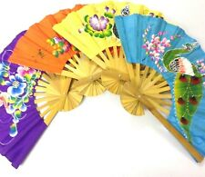 Thai Vintage Hand Fan Handcrafted Wall Hangings Home Decor Painted Fabric Room