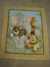JUNGLE BABIES fabric panel QUILT TOP cotton BABY fabric panel PATTY REED BTP NEW