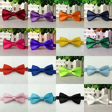 Baby Boys Child kids Solid Bowtie Pre tied Wedding Party satin bow ties Necktie