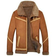Mens Vintage Winter Fleece Fur Leisure Suede Leather Lamb Wool Short Jacket Coat