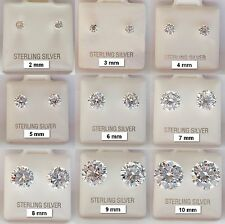 .925 Sterling Silver CZ Cubic Zirconia Stud Earrings Round Cut Clear Brilliant