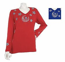 NEW QUACKER FACTORY Celestial Studs & Pearls Bell Sleeve Knit Top  240663RM