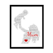 Personalised MUM MOTHER MUMMY Gift Mothers Day Present Word Art PRINT