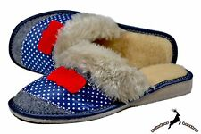 Women Classic Handmade Soft House Slippers Shoes Scuff Blue Warm Sheep Wool Size