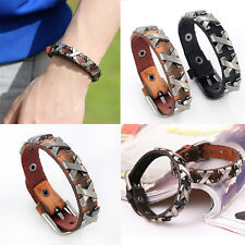 New Genuine Leather Thick Male Bracelet Metal Cross Rivets Studded Cuff Bangle