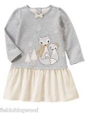 NWT Gymboree All Spruced Up Gray Fox Dress 12 18 24mo Toddler Girls