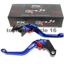 FXCNC Blue 3D Short Fringe Brake Clutch Pierced Lever For Suzuki GSXR 600 1000
