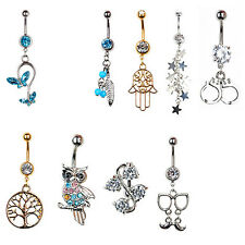 Rhinestone Inlaid Dangle Body Piercing Belly Button Bar Navel Rings NEW Welcome