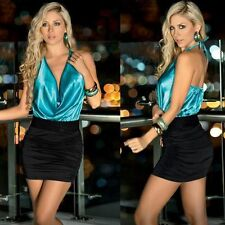 Mini Dress Bodycon Sexy Halterneck Clubwear Deep V-neck Backless Women