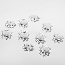 10pcs Sterling Sliver Filigree Flower Bead Caps Loose Spacer Jewelry Finding