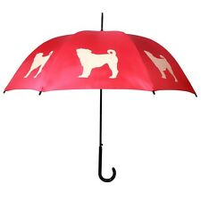 Pug Silhouette Red Stick Umbrella From The San Francisco Umbrella Collection
