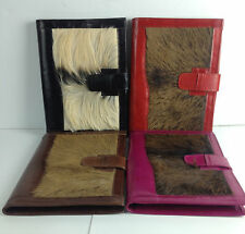 Goat Leather Document Portfolio with Fur Accent 3rd 13th Anniversary Gift