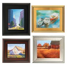 """PLEIN AIR WOOD FRAME 3"""" WIDE Gold Silver Black Brown Leaf PICTURE ART PAINTING +"""