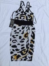 Bebe Dress Leopard Colorblock Double Halter Womens Sizes XS S New NWT 177643