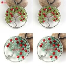 Natural Olivine Green Aventurine Tree Of Life Chakra Wire Wrap Pendant Necklace