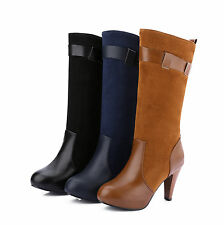 UK Sizes Synthetic Leather Calf High Heel Tall Boots Slim Heels Boot Shoes H1070