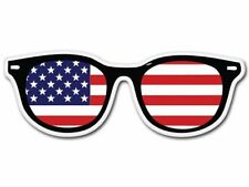 American Flag Glasses Hipster Patriotic - Vinyl Sticker Decal - SELECT SIZE