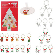 6pcs/Set Alloy Mixed Christmas Wine Glass Charms Home Party Table Decoration