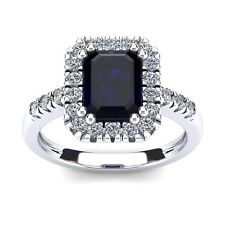14K WHITE GOLD 2 3/4 CARAT EMERALD CUT GENUINE SAPPHIRE AND HALO DIAMOND RING