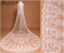 3m White Cathedral Veils Lace Edge Ivory Long Wedding Bridal Veils High Quality