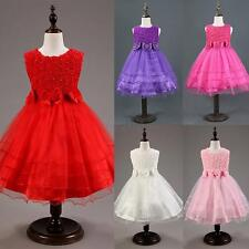 2-8Y Flower Girl Princess Dress Toddler Baby Wedding Party Pageant Tulle Dresses