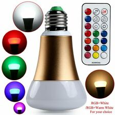 Gold E27 10W RGB Colorful Changing LED Bulb Light Lamp W/Remote Controller