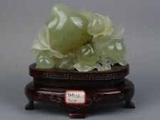 Beautifully Chinese natural xiuyan jade Hand - carved peach statue