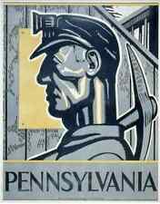 WPA POSTER promoting Pennsylvania, showing head-and-shoulders of a miner c1937