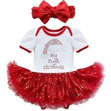 SALE 2Pcs Set Baby Girls Christmas Red Tutu Romper Dress Outfit Clothes Headband