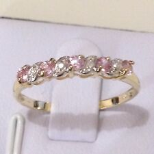 0.25ct.TW Natural Pink Sapphire Channel setting Real 9K YG Ring Sz 5, 6, 7, 8, 9
