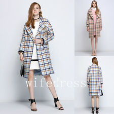 Pink/Blue Plaid Tweed Women's Wool Coats Lapel Long Jackets Warm Winter Outwear