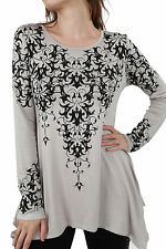 Gorgeous Vocal Scrolls Black Crystals Stones A Line Tunic Shirt Sexy S M L XL
