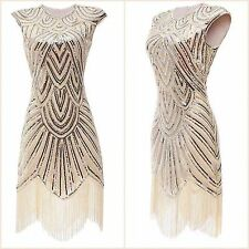 New 1920s gatsby vintage flapper lace sequin black white party maxi dress UK8-18