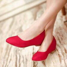 US Size 5-15 Classic Womens Suede Low Hidden Wedges Heel Round Toe Pumps Shoes