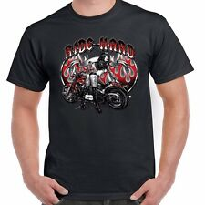 American Motorcycle Bike Biker T shirt Ride Hard Girl Kustom Bobber Chopper 49