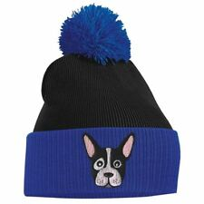 French Bulldog Cute Animal Embroidered Bobble Pom Pom Beanie Hat Logo Womens