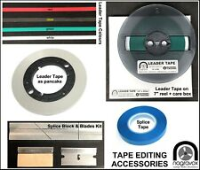 Reel to reel tape accessories. Leader tape white, Leader tape clear. Splice tape