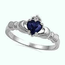 Irish Claddagh Blue Sapphire heart CZ Sterling Silver Promise Ring Size 4-12