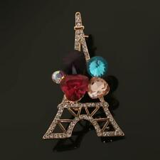 Shiny Crystal Rhinestone Paris Eiffel Tower Brooch Pin Gift for Kids Women Men