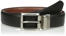 TOMMY HILFIGER MEN'S DRESS BELT WITH POLISHED BUCKLE REVERSIBLE IN BLACK TAN