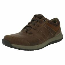 "MENS CLARKS TAN COMBI CASUAL LACE-UP SHOES ""RYLEY STREET"""