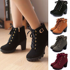 HOT New Womens High Heel Lace Up Ankle Boots Ladies Zipper Buckle Platform Shoes