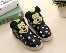 Very Cute Polka Dot Mouse Baby Toddler Kids Led Lights Shoes UNISEX NEW
