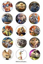 Zootopia inspired themed bottle cap IMAGES 1 inch - 1 inch round circles