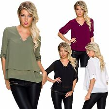 Ladies Shirt Blouse Tunic Top Turn-up Sleeves Needle S 34 36 Party Office Long