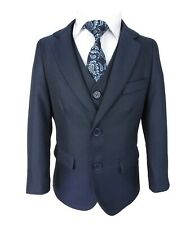Boys 5 Piece Formal Dark Blue Suit Page Boy Wedding Prom Suits Age 1 to 15