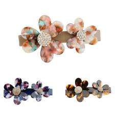 Large Acrylic Crystal Flower French Barrette Hair Clip Ponytail Holder Accessory