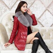 New Womens Fox Fur Collar Leather Thick  Duck Down Long Trench Coat Winter Parka